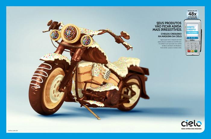 """""""Шоколадний"""" мотоцикл і не тільки… Креативна реклама від Silvio Medeiros"""